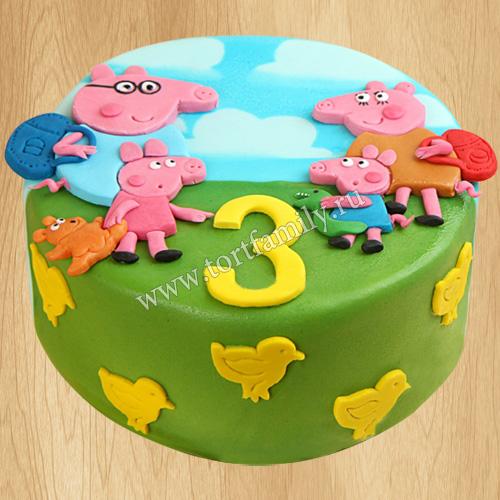 Торт Пеппа на 3 года