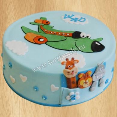 Детский торт с самолетом