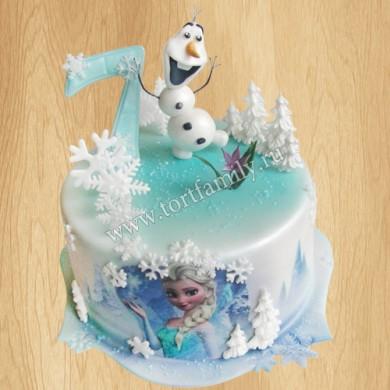 Торт с Эльзой и снеговиком