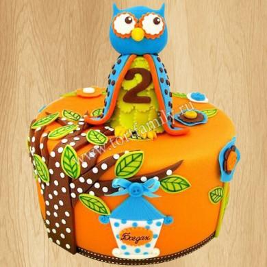 Торт с совой на 2 года
