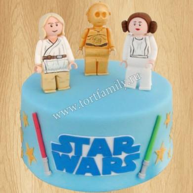 Торт Люк Скайуокер, принцесса Лея, C-3PO