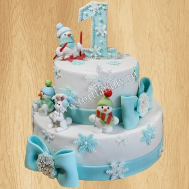 Торт на годик в новогоднем стиле