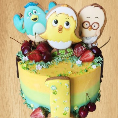 Торт на 1 год с фруктами