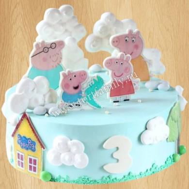 Двухъярусный торт со свинкой Пеппой