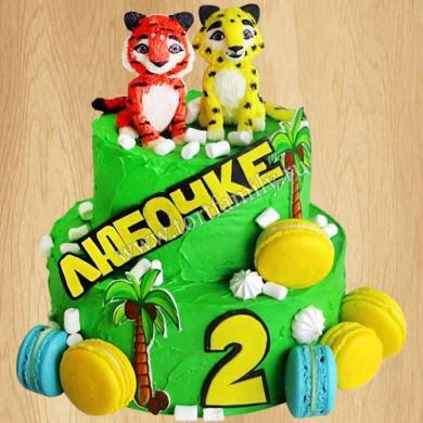 Торт с леопардом и тигренком