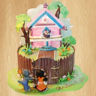 Торт в виде загородного дома