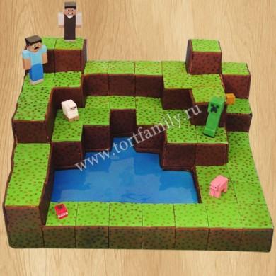 Торт с тематикой Майнкрафт