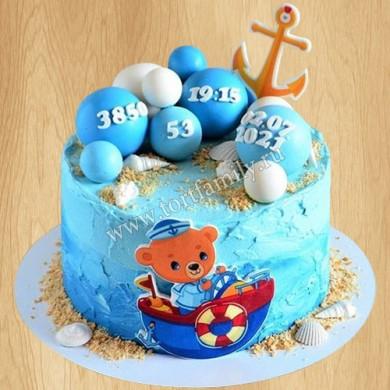Торт с мишкой на рождение ребенка