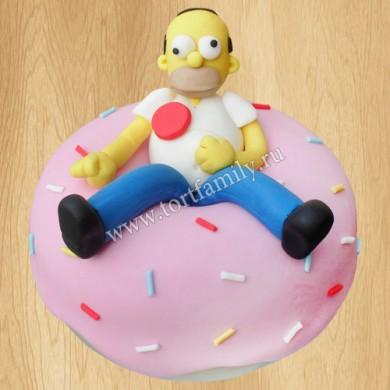Торт с Гомером Симпсоном и пончиком