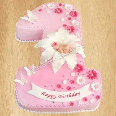 Торт цифра 1 для девочки