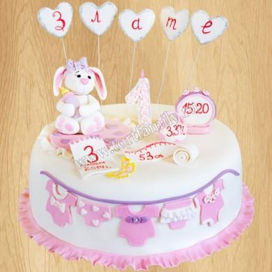 Торт на 3 года девочке с метрикой