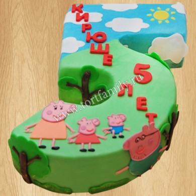 Торт цифра 5 для мальчика