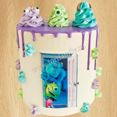 Торт с героями из Корпорации монстров