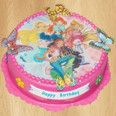 Детский торт с бабочками