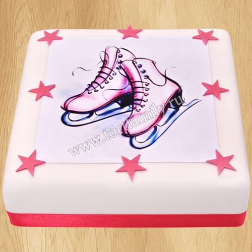 Торт с коньками для девочки