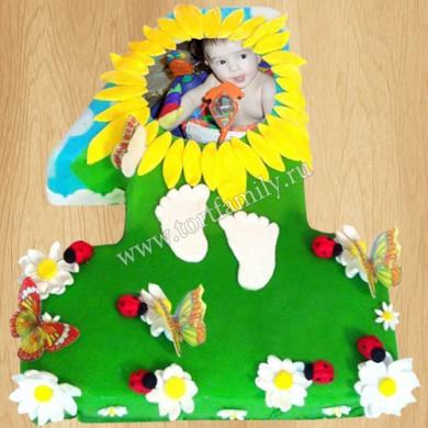 Торт цифра 1 с бабочками