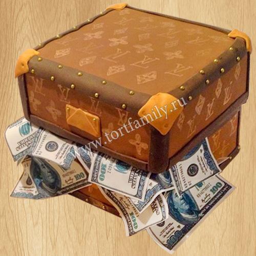 Торт сундук Луи Виттон с деньгами