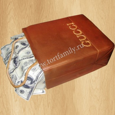 Торт пакет Gucci с долларами