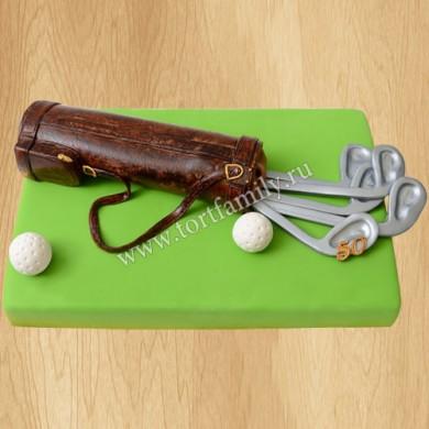 Торт мячик и клюшки для гольфа
