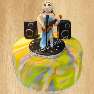 Торт с гитарой и микрофоном