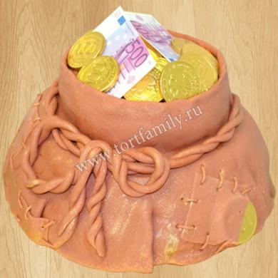 Торт мешочек с монетами