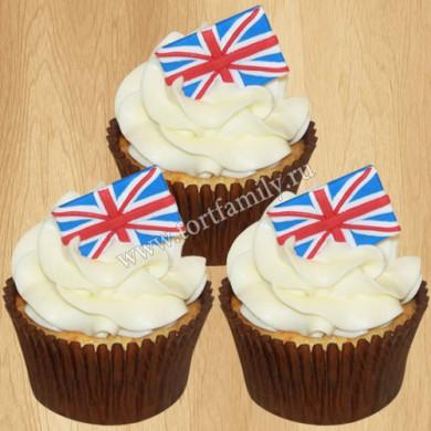 Капкейки с флагом Англии