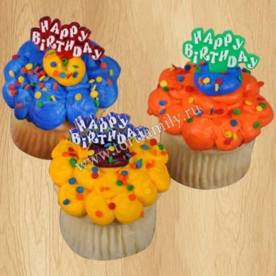 Капкейки с пожеланиями на день рождения