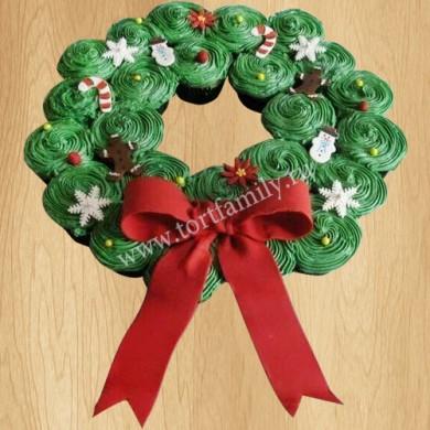 Капкейки рождественский венок