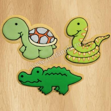 Пряники с черепахой, змеей и крокодилом