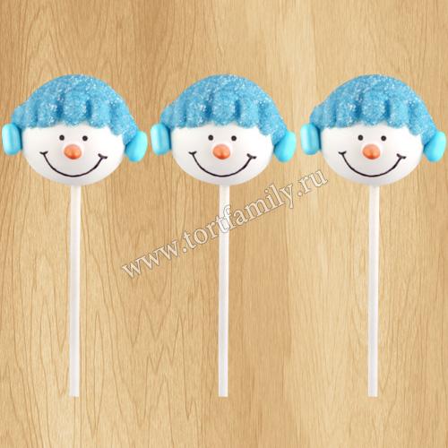 Кейк-попсы в виде снеговика