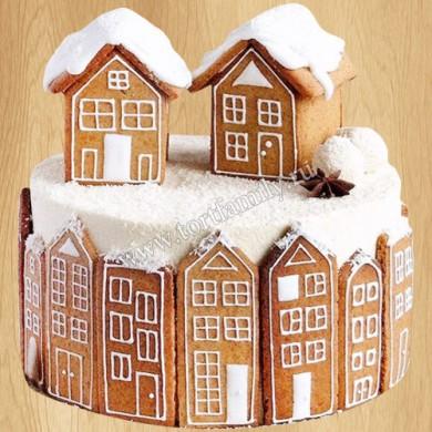 Новогодний торт с пряничными домиками