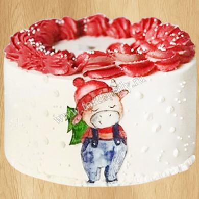 Новогодний торт с быком