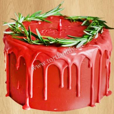 Новогодний торт с начинкой красный бархат