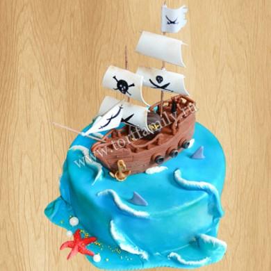 Торт виде пиратского корабля