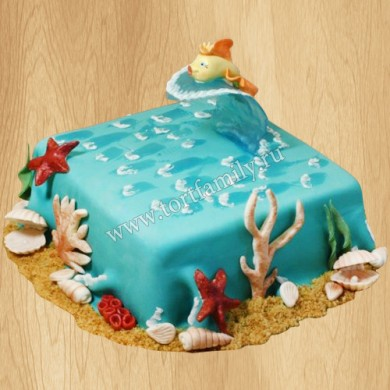 Торт золотая рыбка на волне