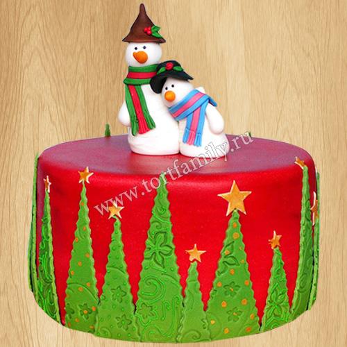 Торт со снеговиками на новый год