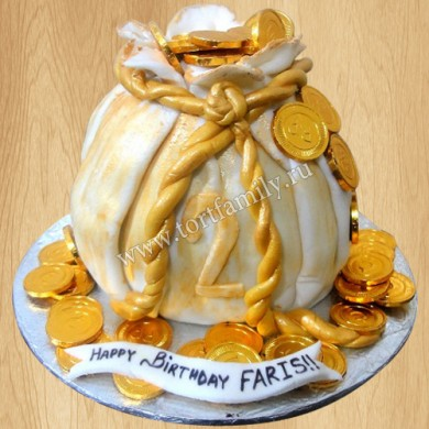 Торт мешок с золотом