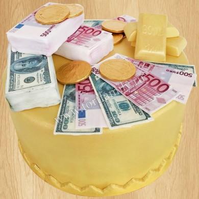 Торт с золотом и валютой
