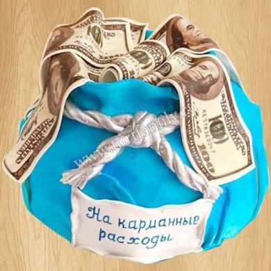 Торт мешочек с долларами