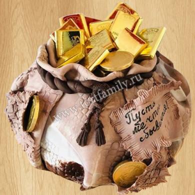 Торт мешочек с золотом