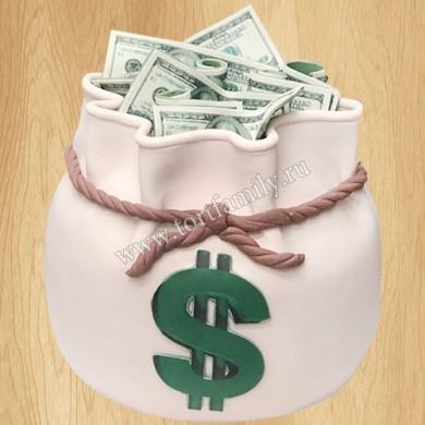 Торт мешочек с валютой