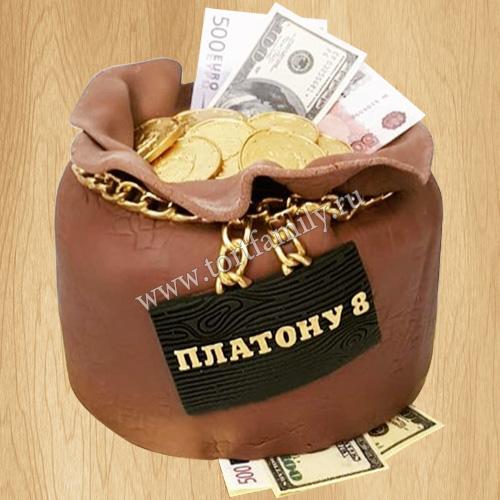 Торт мешочек денег