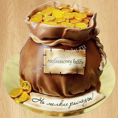Торт мешок с золотыми монетами