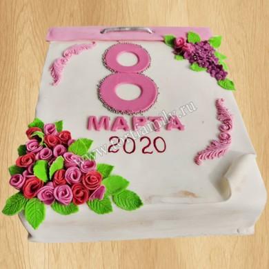Торт в форме календаря на 8 марта