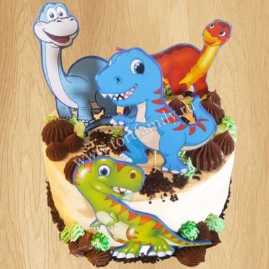 Торт остров с динозаврами