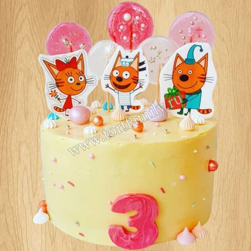 Торт мороженое с котиками
