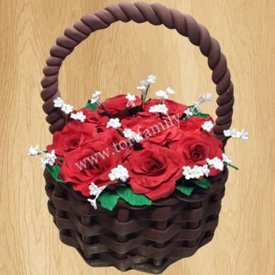 Торт корзина с цветами на 8 марта