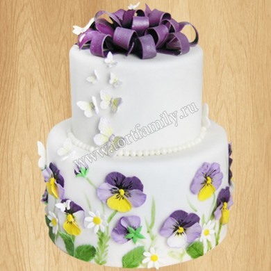 Двухъярусный торт «Анютины глазки»