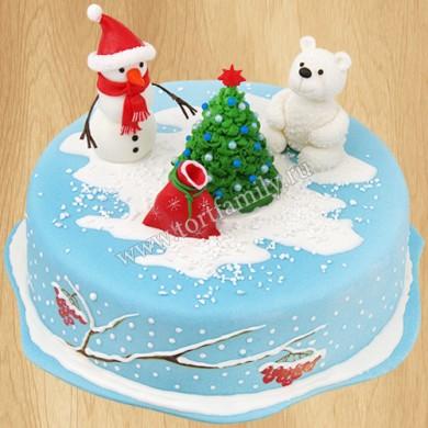 Торт со снеговиком и мишкой