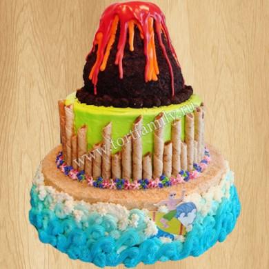 Торт остров с вулканом